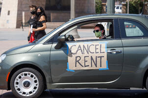 Car with Cancel Rent sign